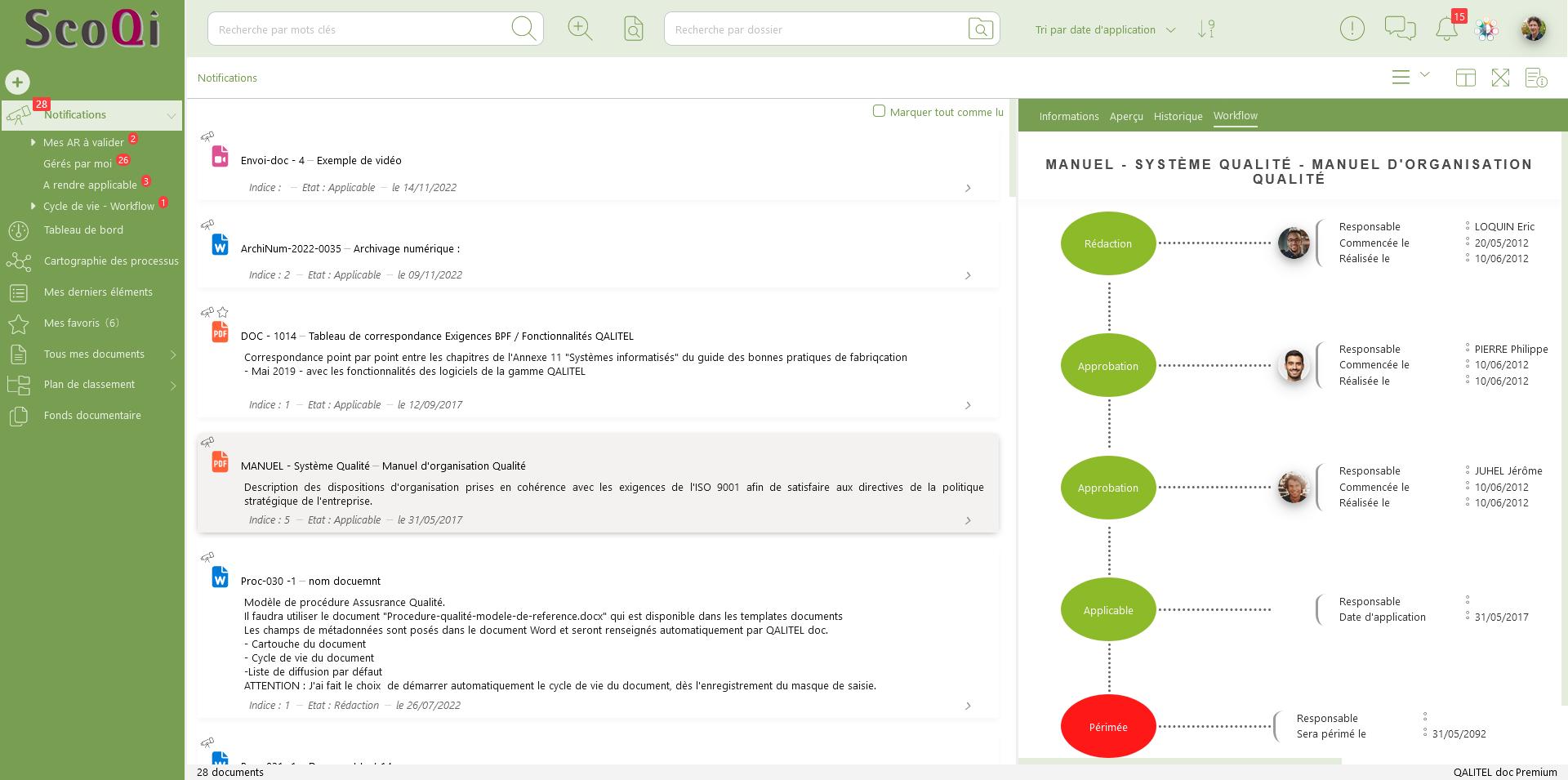 Portail utilisateur de QALITEL doc - Vu dynamique du document diffusé au format PDF - logiciel gestion des documents
