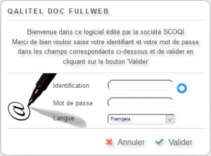 Ecran de login du logiciel de gestion de document QALITEL doc