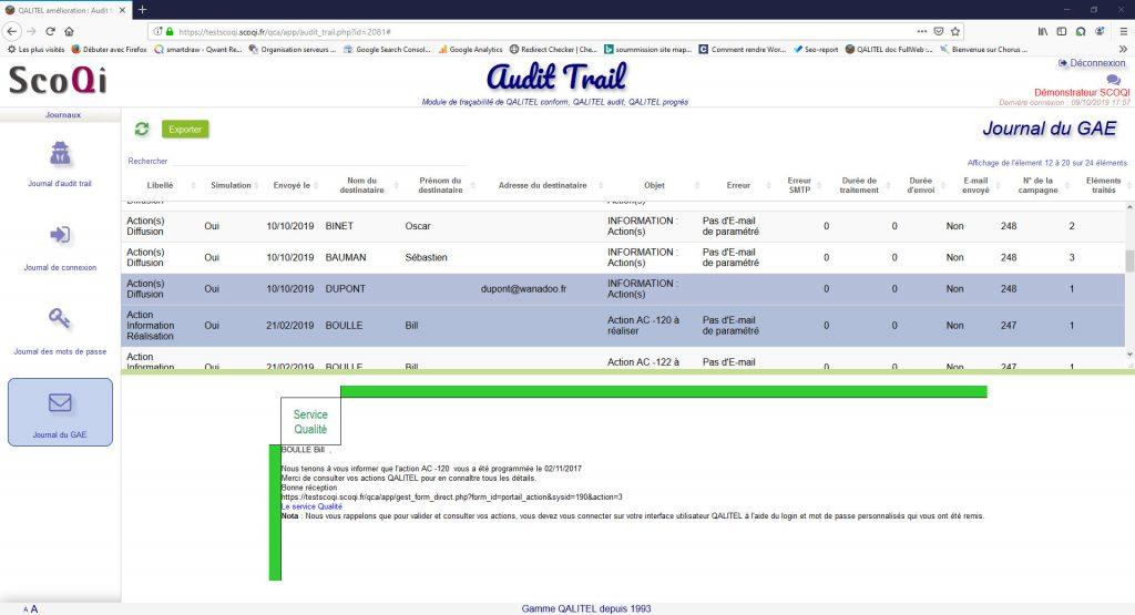 logiciel-gestion-non-conformite-action-qualite-qalitel-conform - module-tracabilite-audit-trail-qalitel-audit-conform-progres-journal-e-mails-gae