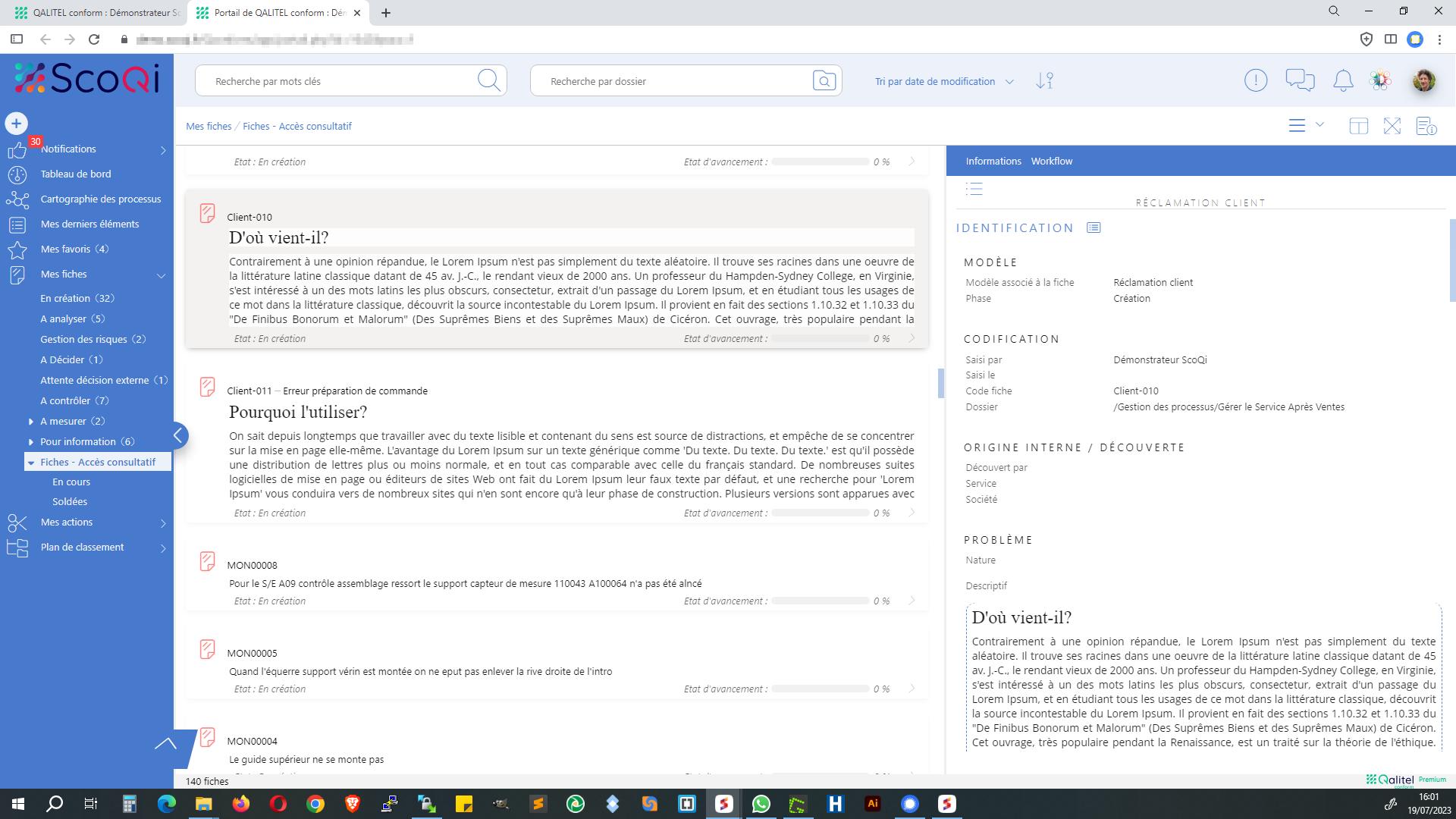 Portail utilisateur de QALITEL conform - Gestion des non-conformités et actions préventives et correctives